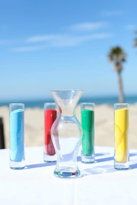 Blended family, second wedding ideas, colored sand at the ceremony